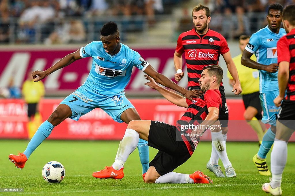 Kalifa Coulibaly and Ardian Cuculi during the Uefa Europa League match between KAA Gent and KF Shkendija In the Ghelamco Arena Gent Belgium via Getty...