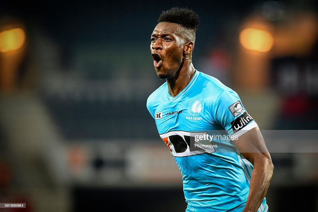 Kalifa Coulibaly celebrates after scoring the 21 during the Uefa Europa League match between KAA Gent and KF Shkendija In the Ghelamco Arena Gent...