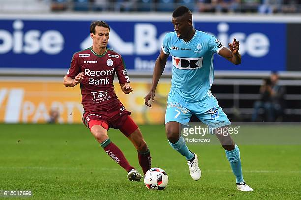 Kalifa Coulibaly forward of KAA Gent and Davy De Fauw defender of SV Zulte Waregem during the Jupiler Pro League match between KAA Gent and SV Zulte...