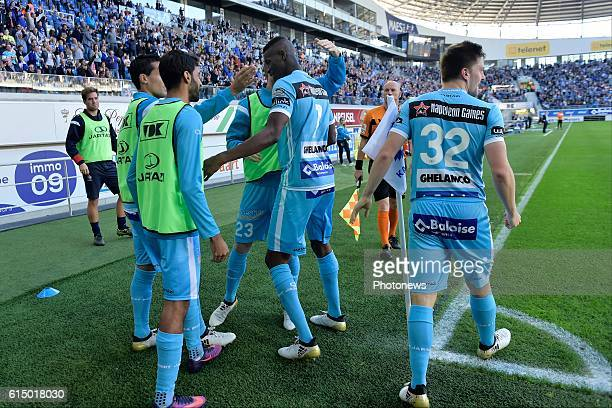 Kalifa Coulibaly forward of KAA Gent celebrates scoring the opening goal with teammates during the Jupiler Pro League match between KAA Gent and SV...