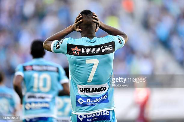 Kalifa Coulibaly forward of KAA Gent holds his head during the Jupiler Pro League match between KAA Gent and SV Zulte Waregem in the Ghelamco Arena...
