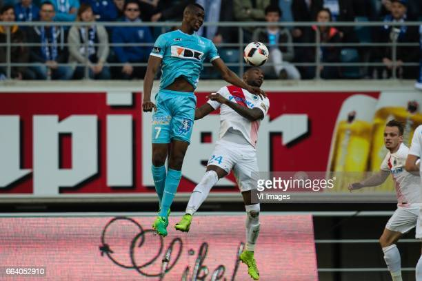 Kalifa Coulibaly of KAA Gent Stefano Denswil of Club Bruggeduring the Jupiler Pro League Play Off I match between KAA Gent and Club Brugge on April...