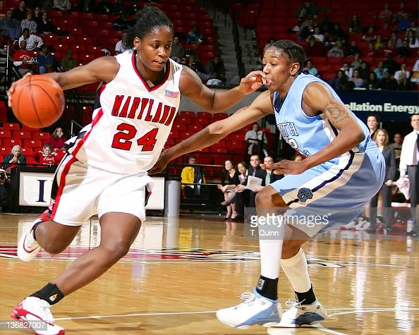 Kalika France moves past La'Tangela Atkinson during a game at Comcast Center in College Park MAryland on January 9 2005
