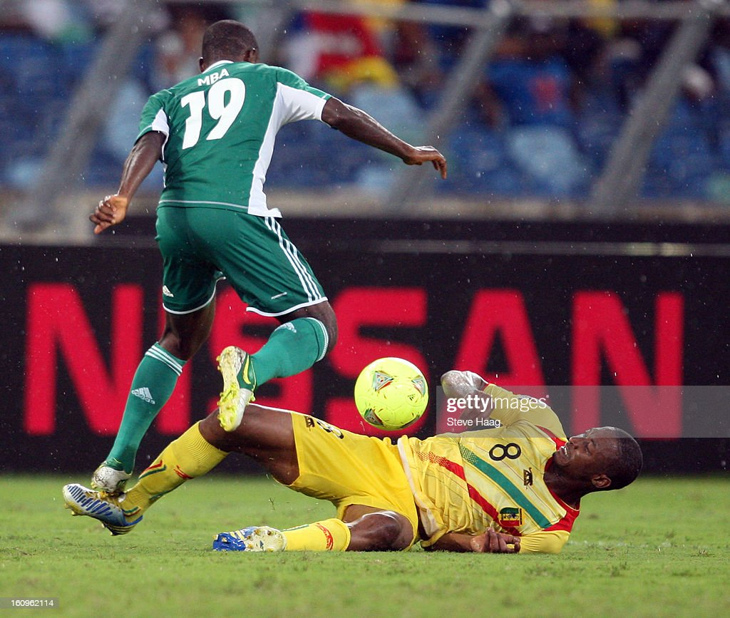 Kalilou Traore of Mali tackles Sunday Mba of Nigeria during the 2013 African Cup of Nations Semi-Final match between Mali and Nigeria at Moses Mahbida Stadium on February 06, 2013 in Durban, South Africa.
