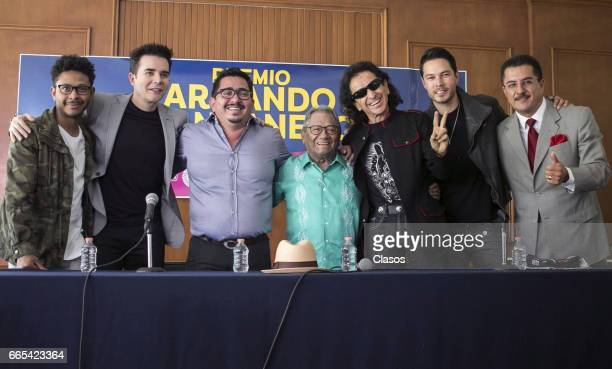 Kalimba Pepe Cantoral Carlos Macias Armando Manzanero Alex Lora Juan Solo and Benito Lopez pose during a press conference to announce details of the...