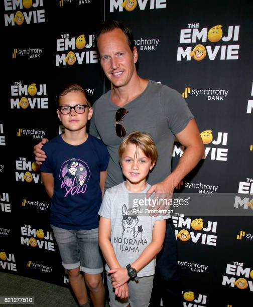 Kalin Patrick WIlson actor Patrick Wilson and Kassian McCarrell WIlson attend 'The Emoji Movie' Special Screening at NYIT Auditorium on Broadway on...