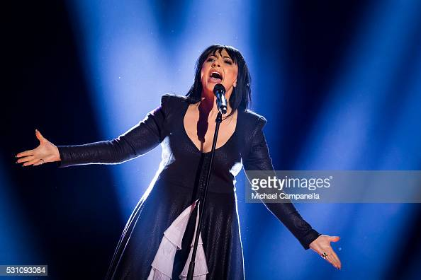 Kaliopi representing FYR Macedonia performs the song 'Dona' during the semifinals of the 2016 Eurovision Song Contest at Ericsson Globe Arena on May...