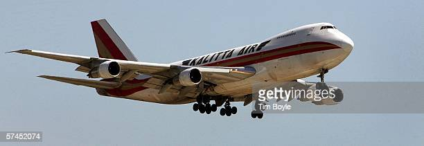 Kalitta Air Boeing 747 cargo jet makes its approach to Chicago's O'Hare International Airport April 26 2006 in Rosemont Illinois The Boeing Company...
