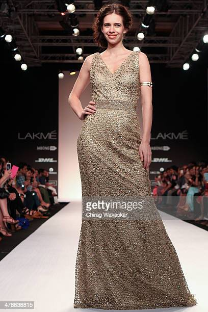 Kalki Koechlin walks the runway wearing designs by Komal Sood at day 5 of Lakme Fashion Week Summer/Resort 2014 at the Grand Hyatt on March 15 2014...