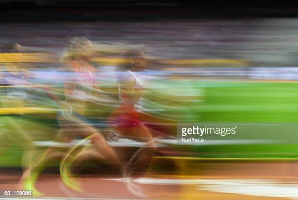 KalkidanGezahegne of Bahrain and SusanKrumins of Nederlands compete in 5000 meter final in London at the 2017 IAAF World Championships athletics