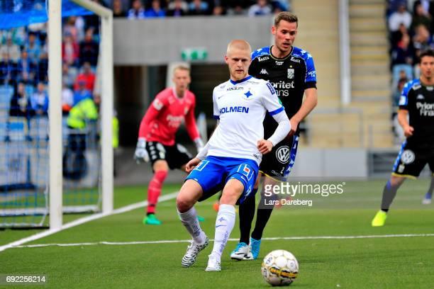 Kalle Holmberg of IFK Norrkoping and Emil Salomonsson of IFK Goteborg during the Allsvenskan match between IFK Norrkoping and IFK Goteborg on June 4...