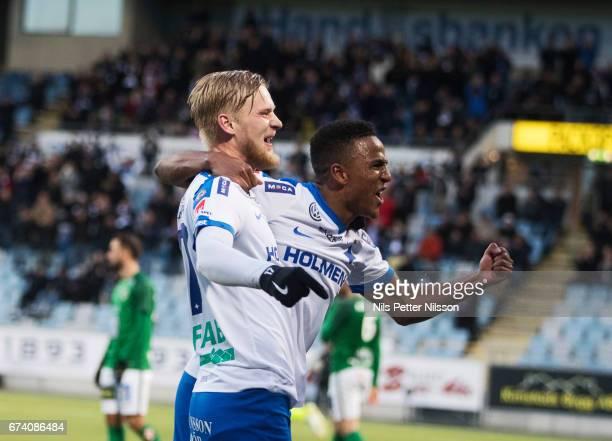 Kalle Holmberg of IFK Norrkoping celebrates after scoring to 20 during the Allsvenskan match between IFK Norrkoping and Jonkopings Sodra IF at...