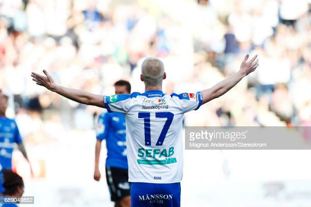 Kalle Holmberg of IFK Norrkoping celebrates after the victory during the Allsvenskan match between IFK Norrkoping and Halmstad BK at Ostgotaporten on...
