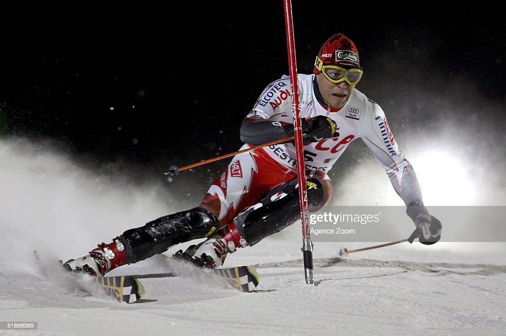 Kalle Palander of Finland competes during the FIS Alpine Ski World Cup Men's Slalom Event at Sestriere Sporting Club on December 13, 2004 in Sestriere, Italy.