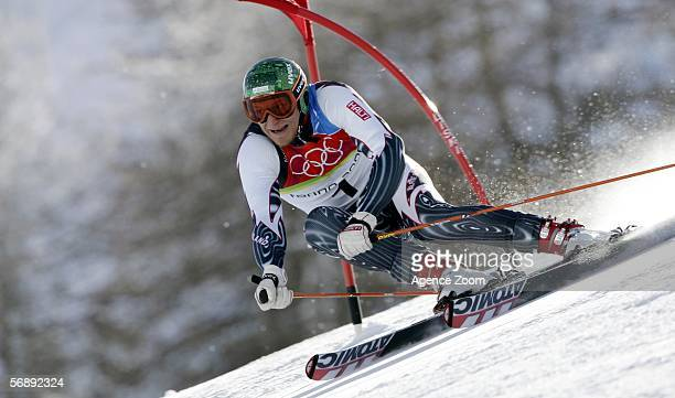Kalle Palander of Finland competes in the Mens Alpine Skiing Giant Slalom competition on Day 10 of the 2006 Turin Winter Olympic Games on February 20...