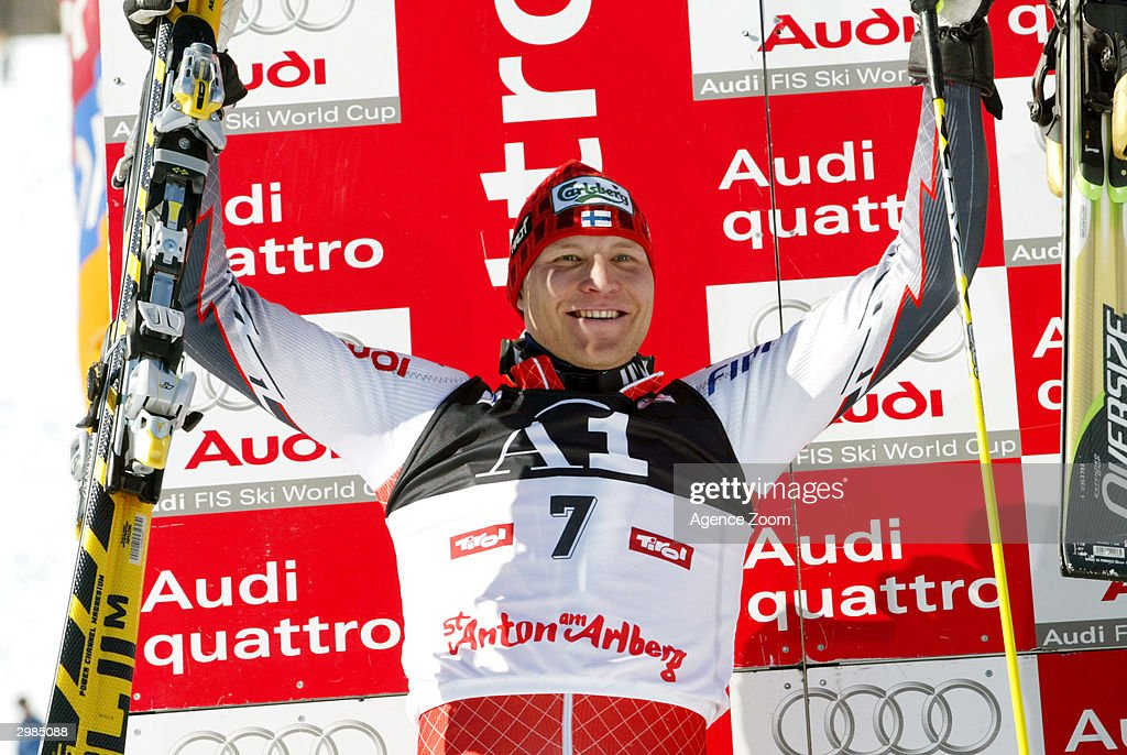 Kalle Palander takes silver in the Men's Slalom at the FIS Alpine Ski World Cup 2004, held on February 15, 2004 in Saint Anton, Austria.