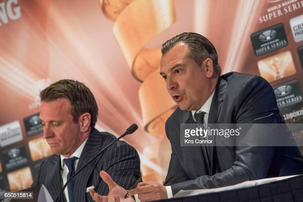Kalle Sauerland Comosa's Chief Boxing Officer and Roberto Dalmiglio Comosa's Head of Management Board speak during a press conference to announce the...