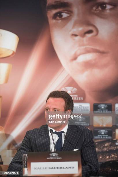 Kalle Sauerland Comosa's Chief Boxing Officer speaks during a press conference to announce the World Boxing Super Series at The Pierre Hotel on March...