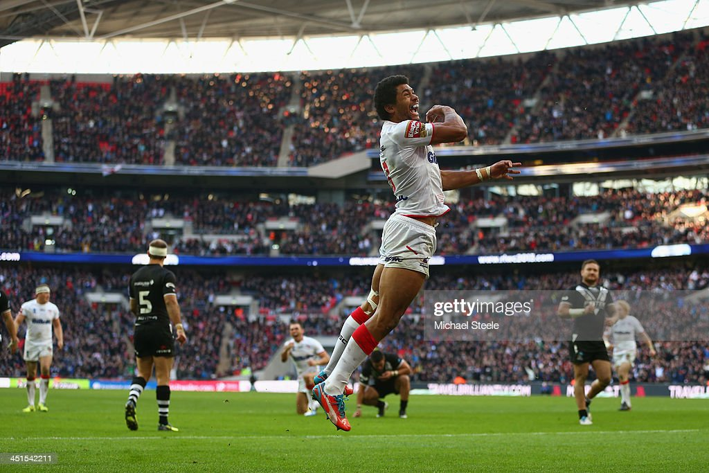Kallum Watkins of England celebrates scoring his sides second try during the Rugby League World Cup Semi Final match between New Zealand and England at Wembley Stadium on November 23, 2013 in London, England.