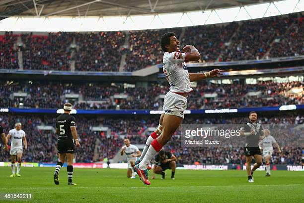 Kallum Watkins of England celebrates scoring his sides second try during the Rugby League World Cup Semi Final match between New Zealand and England...