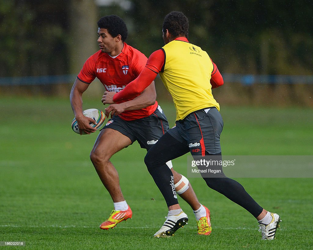 <a gi-track='captionPersonalityLinkClicked' href=/galleries/search?phrase=Kallum+Watkins&family=editorial&specificpeople=5313967 ng-click='$event.stopPropagation()'>Kallum Watkins</a> of England in action during the England training session for the Rugby League World Cup on October 29, 2013 in Loughborough, England.