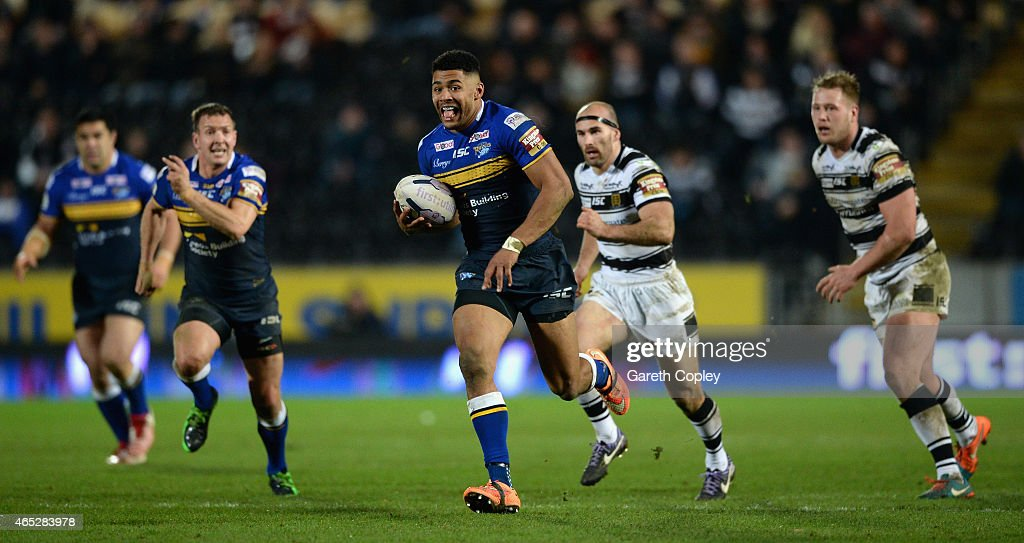 Kallum Watkins of Leeds Rhinos breaks free to score a second half try during the First Utility Super League match between Hull FC and Leeds Rhinos at...
