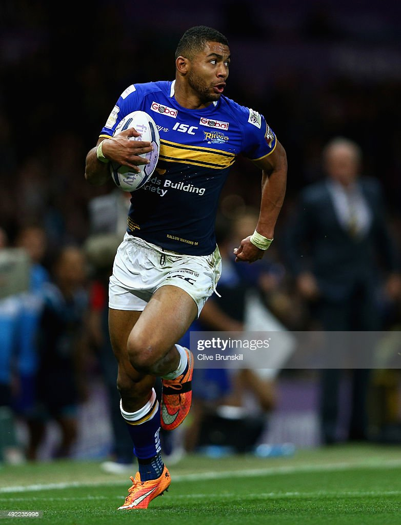 Kallum Watkins of the Leeds Rhinos in action during the First Utility Super League Grand Final between Wigan Warriors and Leeds Rhinos at Old...