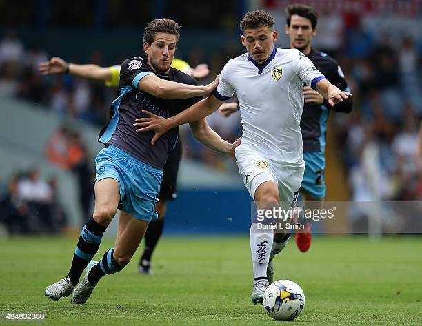Kalvin Phillips of Leeds United FC olds off Sam Hutchinson of Sheffield Wednesday FC during the Sky Bet Championship match between Leeds United and...