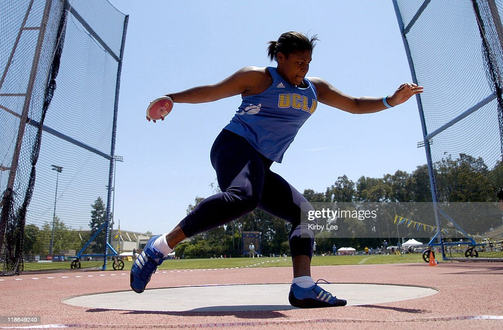 Kamaiya Warren of UCLA won the women's discus at 1833 in the Pacific10 Conference Track Field Championships at UCLA's Drake Stadium in Westwood Calif...
