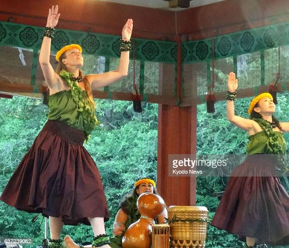 Kamakura Japan People from the Hawaiian island of Kauai dance a hula on the Maiden a stage for dance and music performances at the Tsurugaoka...