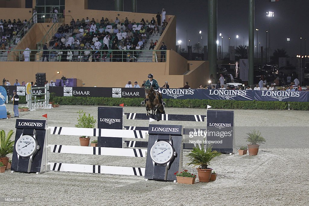 Kamal Bahamdan of Saudi Arabia rides Delphi during the President of the UAE Showjumping Cup - Furusiyyah Nations Cup Series presented by Longines on February 23, 2013 in Al Ain, United Arab Emirates.