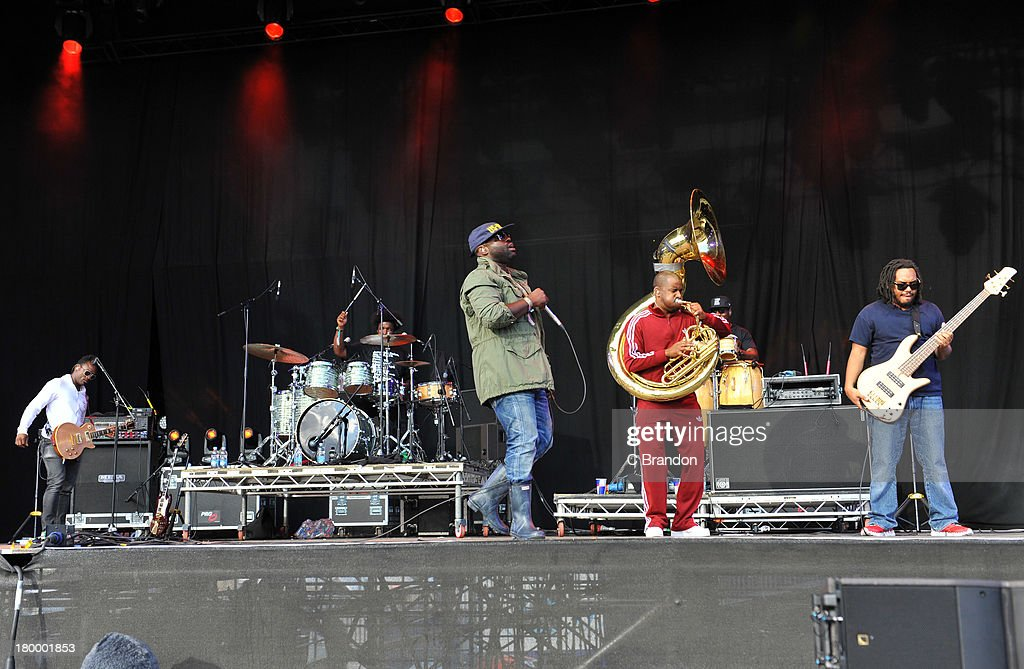 Kamal Gray, Questlove, Black Thought, Tuba Gooding Jr and Mark Kelly of The Roots perform on stage during Day 3 of Bestival 2013 at Robin Hill Country Park on September 7, 2013 in Newport, Isle of Wight.