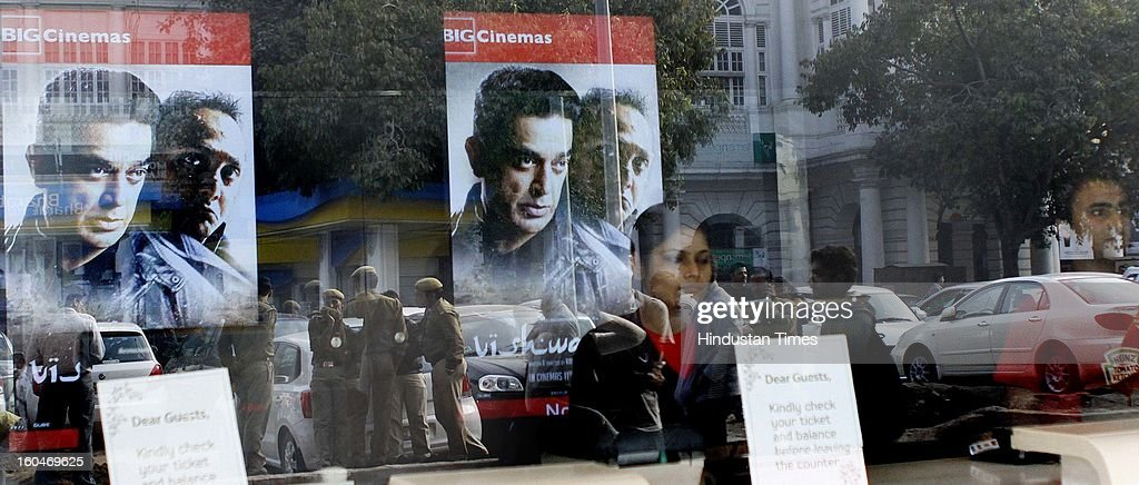 Kamal Hassan's controversial film Vishwaroopam released in capital at Big Odeon Cinema hall amid security on February 1, 2013 in New Delhi, India. The film that was banned in Tamil Nadu and was facing security threats with some Muslim groups taking objection to certain scenes in the movie as hurting their religious sentiments.