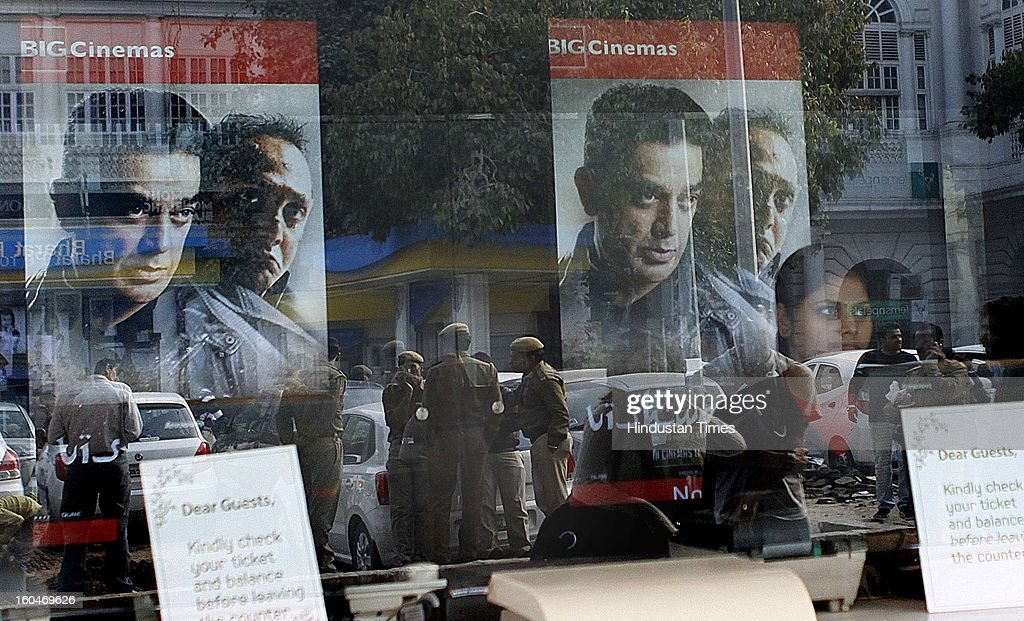 Kamal Hassan's controversial film Vishwaroopam released in capital at Big Odeon Cinema hall amid security on February 1 2013 in New Delhi India The...