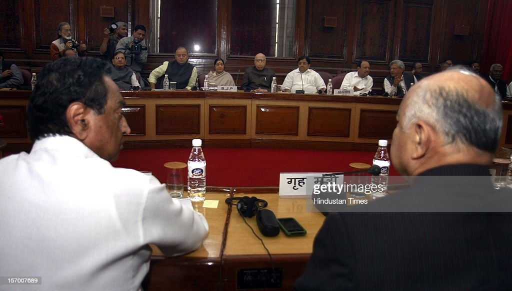 Kamal Nath Minister of Urban Development and Parliamentary Affairs and Home Minister Sushil Kumar Shinde attending all party meeting on to break the deadlock on Foreign Direct Investment issue during the parliament winter session on November 26, 2012 in New Delhi, India. Main opposition party BJP wants debate under rule 184 which has provision of vote but government wants the speaker to decide on debate rules.