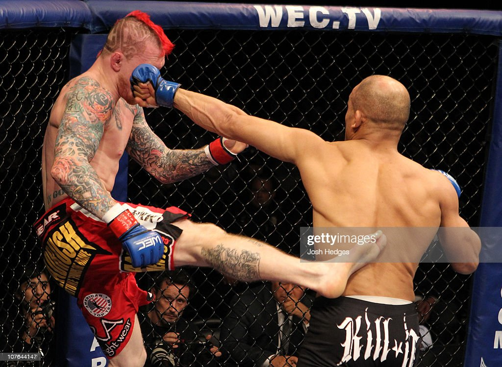 Kamal Shalorus punches Bart Palaszewski at WEC 53 at the Jobingcom Arena on December 16 2010 in Glendale Arizona