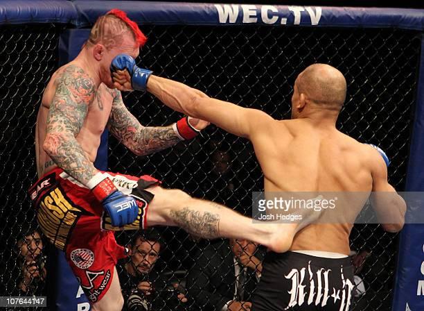 Kamal Shalorus punches Bart Palaszewski at WEC 53 at the Jobingcom Arena on December 16 2010 in Glendale Arizona