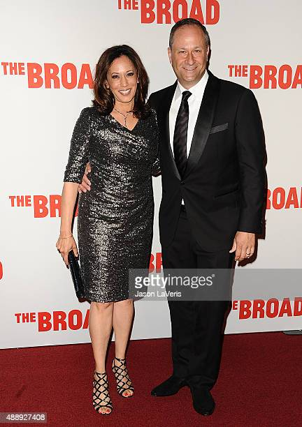 Kamala Harris and Douglas Emhoff attend the Broad Museum black tie inaugural dinner at The Broad on September 17 2015 in Los Angeles California
