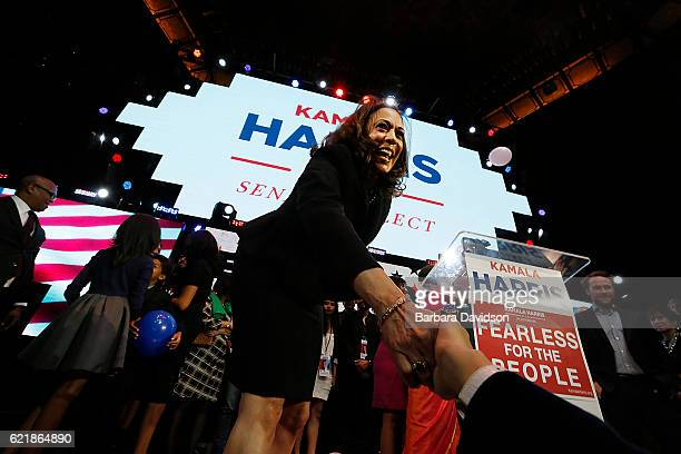 Kamala Harris celebrates winning her Senate race at her rally in downtown on November 8 2016 in Los Angeles California