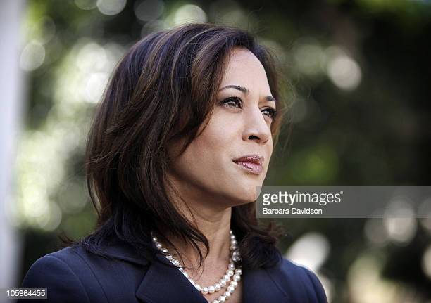 Kamala Harris democratic candidate for Attorney General of California is photographed in front of Los Angeles City Hall on October 11 Los Angeles CA...