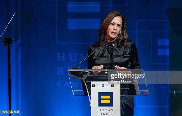 Kamala Harris speaks during the Human Rights Campaign Los Angeles Gala Dinner at JW Marriott Los Angeles at LA LIVE on March 22 2014 in Los Angeles...