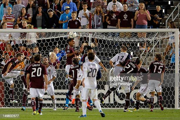 Kamani Hill of Colorado Rapids heads the ball away as the Colorado Rapids and Real Salt Lake vie for a corner kick at Dick's Sporting Goods Park on...
