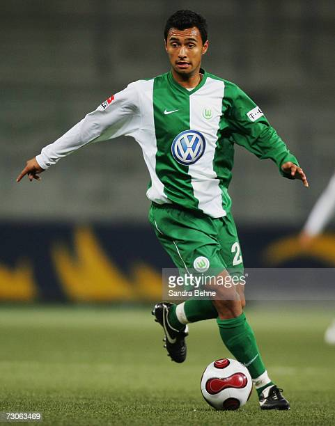 Kamani Hill of Wolfsburg runs with the ball during the friendly match between Red Bull Salzburg and VfL Wolfsburg on January 20 2007 in Salzburg...