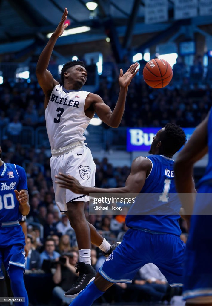 Kamar Baldwin #3 of the Butler Bulldogs loses the ball against the Seton Hall Pirates at Hinkle Fieldhouse on March 4, 2017 in Indianapolis, Indiana.
