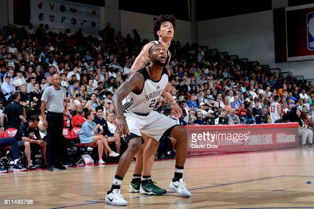 Kamari Murphy of the Brooklyn Nets boxes out against DJ Wilson of the Milwaukee Bucks during the 2017 Las Vegas Summer League on July 9 2017 at the...