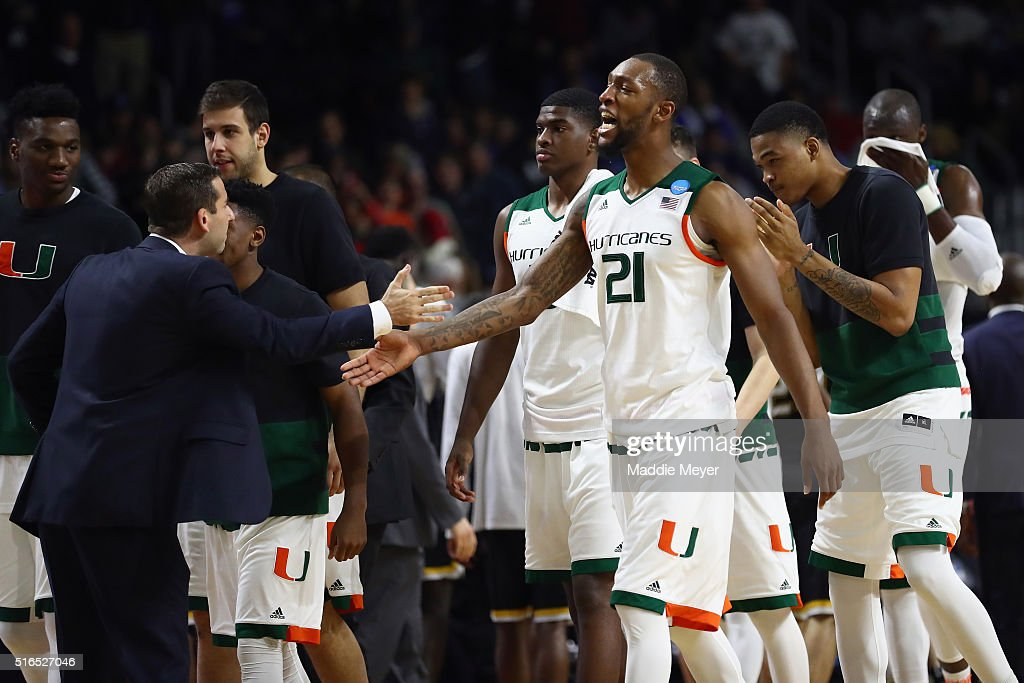 Kamari Murphy of the Miami Hurricanes celebrates defeating the Wichita State Shockers 6557 during the second round of the 2016 NCAA Men's Basketball...