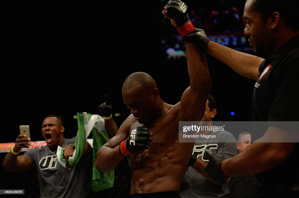 Kamaru Usman reacts to his victory over Hayder Hassan in their welterweight bout during the Ultimate Fighter Finale inside MGM Grand Garden Arena on July 12, 2015 in Las Vegas, Nevada.