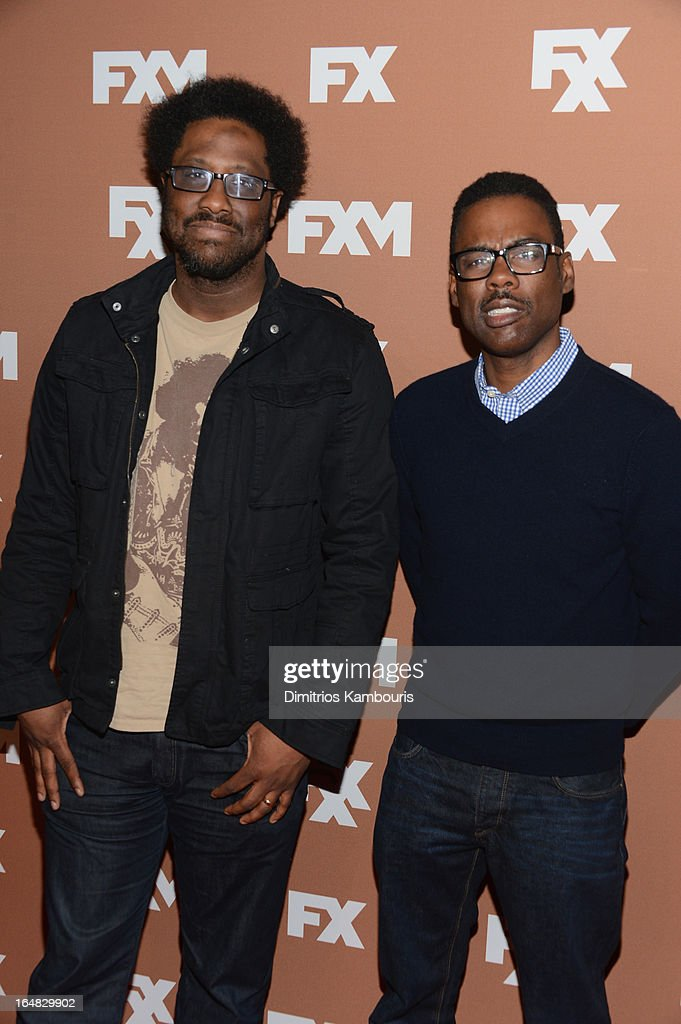 W. Kamau Bell and <a gi-track='captionPersonalityLinkClicked' href=/galleries/search?phrase=Chris+Rock&family=editorial&specificpeople=202982 ng-click='$event.stopPropagation()'>Chris Rock</a> attend the 2013 FX Upfront Bowling Event at Luxe at Lucky Strike Lanes on March 28, 2013 in New York City.
