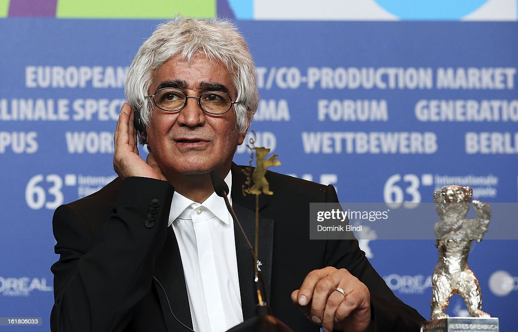 Kamboziya Partovi poses with with the award for Best Script at the Award Winners Press Conference during the 63rd Berlinale International Film Festival at Grand Hyatt Hotel on February 14, 2013 in Berlin, Germany. Kamboziya Partovi accepted the prize on behalf of Jafar Panahi.