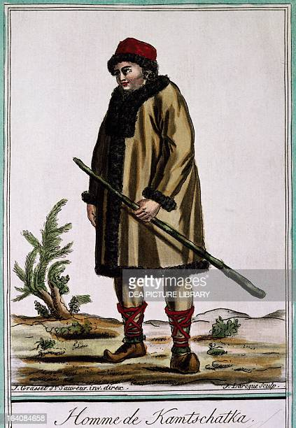 Kamchatka man colour engraving by Laroque from Encyclopedia of voyages by Jacques Grasset de SaintSauveur 17951796 Russia 18th century